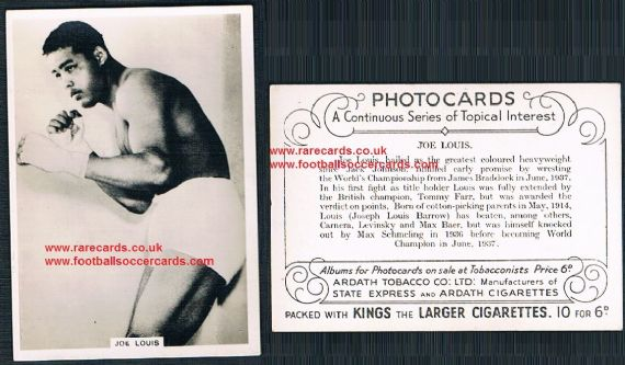 1937 Joe Louis Ardath Photocards Continuous Series of Topical Interest